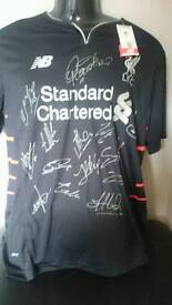 Team signed Liverpool shirt 16/17 with Coa