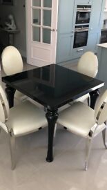 Black High Gloss 4 Seater Table