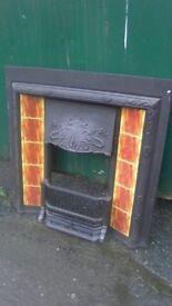 Decorative Victorian style cast iron fire surround