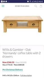 Willis and Gambier solid oak coffee table