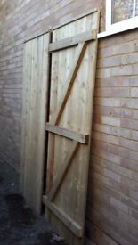 """Garden Side Gates, Pair of 7ft x 2ft6"""" gates never been used, wrong size ordered, very solid gates"""