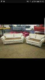 2 and 3 seater high back glitz sofa