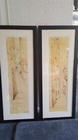Set of two framed contemporary architectural pictures in pen and ink/wash