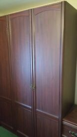 Bedroom suite 4 wardrobes 3 drawer chest 3 over bed storage units & dressing table.