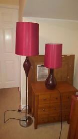 Set of two red crackle glaze Next lamps
