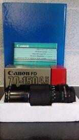 Canon fd 70-150 f/4.5 zoom lens