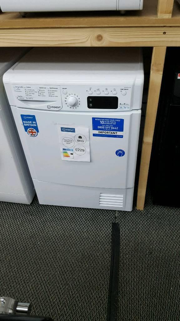 New graded Indesit 8kg heat pump condenser dryer with months guarantee with 12 months guarantee
