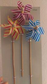 Pack of 3 Striped Pinwheels - Unused
