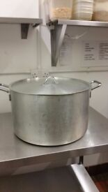 LARGE COMMERCIAL CATERING HEAVY DUTY ALUMINIUM STOCK POT STEW PAN WITH LID