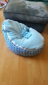 Blue baby bean bag, removable top for easy clean.