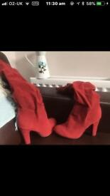 Brand New Red Suede Boots Size 5