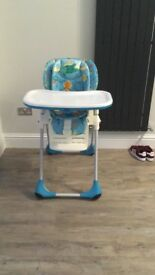Chicco high chair fab condition. Can recline and be lowered
