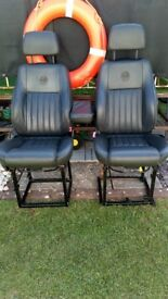 Alfa Romeo leather car seat's good clean condition have been mounted on stands
