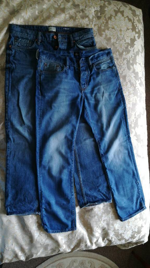 2 pairs of river island jeans - 34 waist and 32 leg