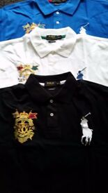 BRAND NEW RALPH LAUREN POLO SHIRTS IN WHITE, BLACK AND ROYAL BLUE, VARIOUS SIZES