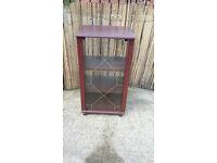 mahogany wood hifi cabinet with glass door