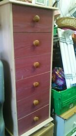 Tall Pink Bedroom Drawers - skinny pine