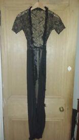 Black/gold lace robe-size S