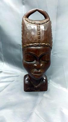 Old Vintage Hand Carved Wood Wooden Carving Head Bust Woman Sculpure Art African