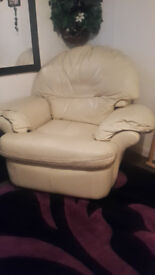 reclining cream leather armchair for sale