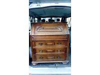 Ornate oak bureau