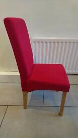 4 red fabric dining table chairs