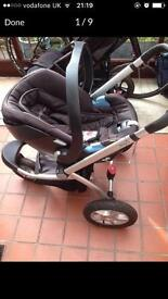 3 Wheeler pram mothercare my3 with Cybex Aton car seat
