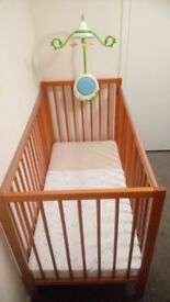 baby wooden cot with mattress