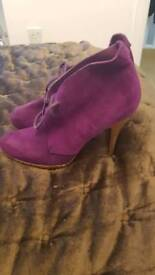 Purple suede ankle boots very trendy