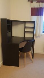 Ikea micke corner desk workstation black with whiteboard, shelves and cupboard