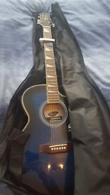 Lindo Slim Blue ORG-SL Electro / Electric Acoustic Guitar with LCD Preamp + Accessories