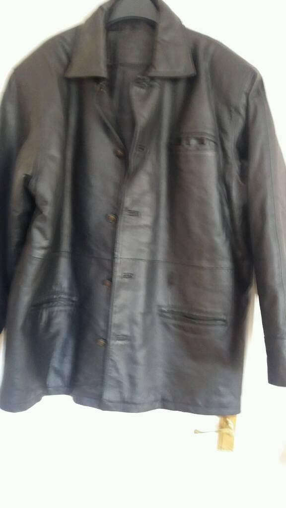 Mens black leather jacket size xl