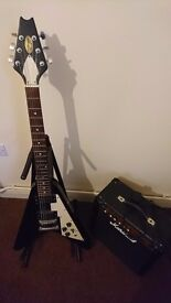 Stagg flying V electric guitar with amp and stand