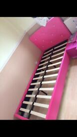 Pink single bed frame ( no mattress)