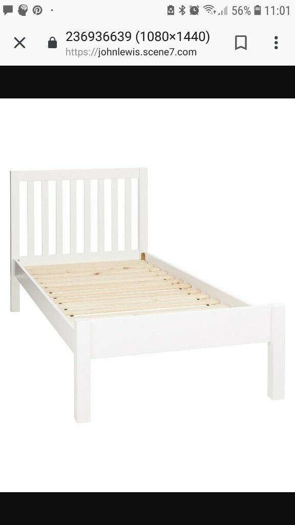 Single Bed White Wooden Frame John Lewis In Brighton East