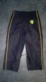 Boys Norwich city football trousers