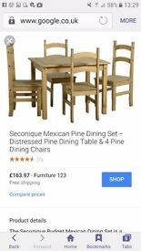 New un-used Distressed pine Mexican Dining Table with 4 chairs