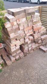 Reclaimed bricks, 200+, LBC, cleaned up.