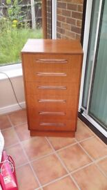 G Plan Fresco 6 draw teak tallboy in very good condition for sale by collection