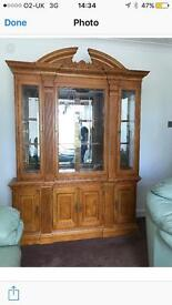 Hand carved Yew Wood Display Cabinet