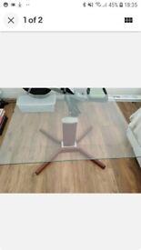 Retro Glass Square Coffee Table Wooden Base