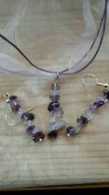 New Handmade Amethyst Chip Pendant Earrings & Necklace set. Ideal gift.