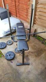 For sale weight bench and barbell bar weight set