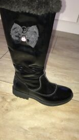 Girls Lelly Kelly black winter boots NEW size 13