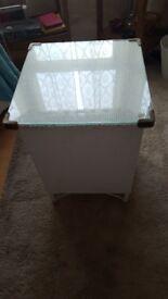 White vintage wicker storage box