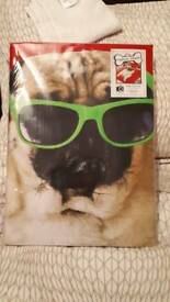 Pug double duvet cover and pillows