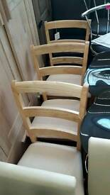 New 4 Fabric and wood chairs