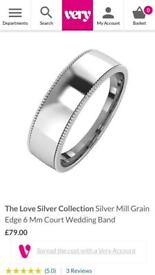 BRAND NEW WITH TAGS Silver Mill Grain Court 6mm Court Wedding Ring Size W