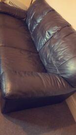 Dark brown leather sofa- 3 seater
