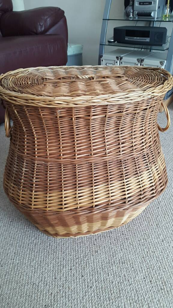 Old wicker laundry basket